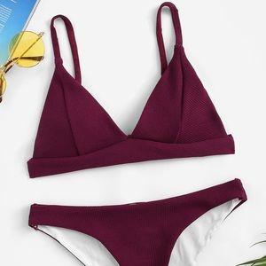Ribbed Triangle Burgundy Bikini - NWT